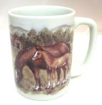 Older Otagiri Japan Horse in Meadow Coffee Mug Great Shape!  Horses Barn Cup - $29.69