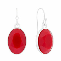 Liz Claiborne Women's Red Stone Drop Earrings Silver Tone New - $14.84