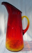 Vintage Amberina Glass Pitcher Patriotic Eagle & Stars Attached Handle  Kanawha - $22.76