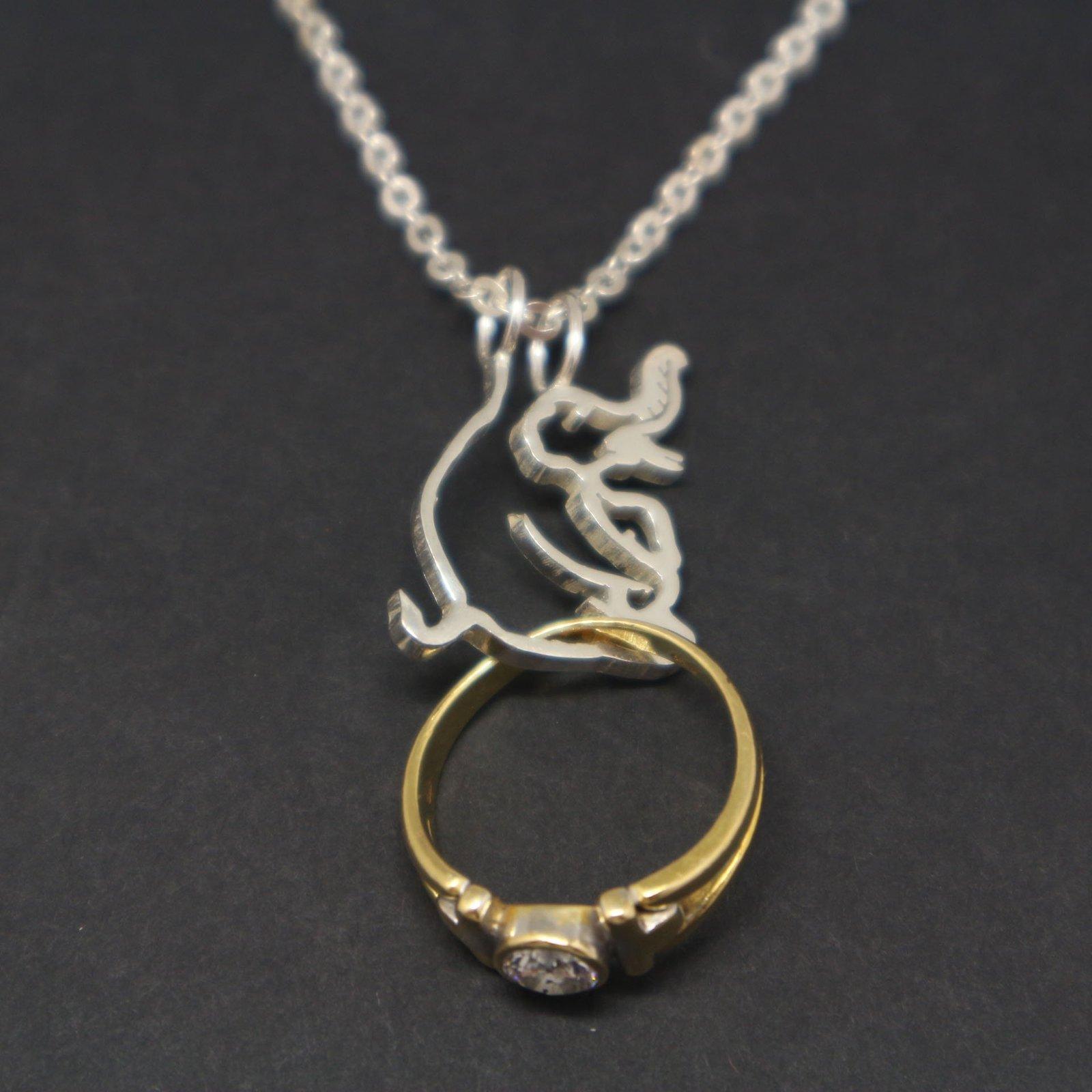 Silver Elephant Ring Holder Necklace Pendant