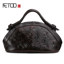 Oil Wax Genuine Leather Women Handbags Fashion Embossed Crossbody Female... - $111.75 CAD