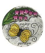 Enjoy our Garden Stepping Stone with Glitter Overlay Bee Print & Pink Tu... - $19.35