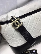 NWT AUTH Chanel 2019 BLACK White Quilted Leather Small Gabrielle Hobo Bag GHW image 5