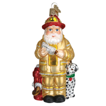 OLD WORLD CHRISTMAS SANTA IN YELLOW FIREFIGHTER SUIT GLASS ORNAMENT 40109 - $17.88