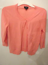 Talbots Petites Womens Size S Cardigan Sweater Pink Pima Cotton - $9.26