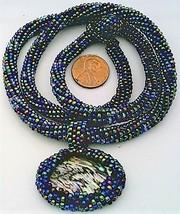 Black Rainbow Bead Crochet Rope Choker Paua Shell Pendant 1 - $30.00