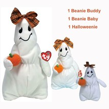 Ghoulianne Girl Ghost Ty Beanie Baby and Buddy and Halloweenie MWMT Set ... - $29.65