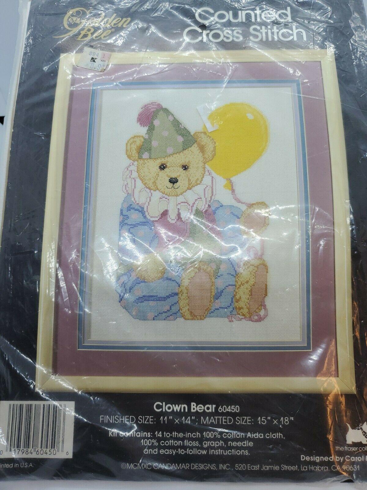 """Golden Bee Counted Cross Stitch Kit """"Clown Bear""""11x14 New Pattern, Floss - $12.59"""