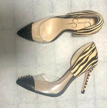 JESSICA SIMPSON Payve 2 9.5 Heels Calf Hair d'Orsay Pump Clear Zebra Spi... - $99.99