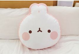 Molang Face Cushion Stuffed Animal Rabbit Plush Toy Pillow 17.7 inches image 8