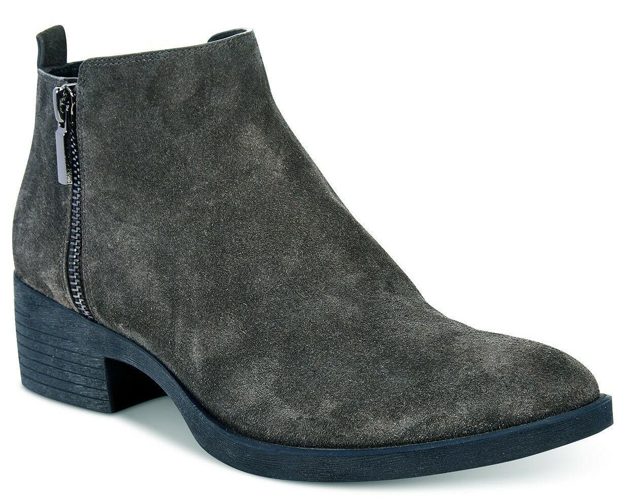 NIB Brand New Ladies Kenneth Cole Levon Asphalt Grey Leather/Suede Ankle Boots