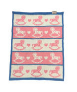Vtg Biederlack Baby Blanket Rocking Horse Blue Pink White Nostolgic 27x3... - $49.49