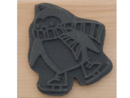 Stampendous 2010 Skating Penguin Wood Mounted Rubber Stamp #F208 image 2