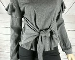 1 STATE Women's Textured Knit Long Sleeve Tie Front Ruffle Sleeve Top NWT XS