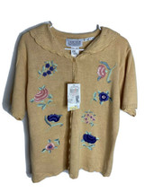 Vintage Jantzen Classics Short Sleeve Button Down Embroidered By Hand Sw... - $24.70
