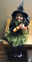 Cute Witch Green Shelf Sitter Doll Tabletop Mantle Halloween Home Decor ... - $59.40