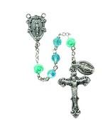 Christian Brands Miraculous Rose 6MM Aqua Rosary - $68.76