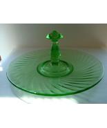 Green vaseline glass swirl optic hordoeuvre plate. - $20.00