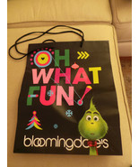 "unused Bloomingdales Grinch Shopping Gift Bag ""OH!"" & ""NO?"" WHAT FUN 16x... - $11.00"