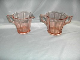 2 Pc Set Vintage Heisey Pink Depression Glass Decagon Cream & Sugar NICE - $44.55