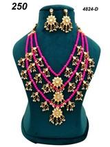 Indian Ethnic Kundan Jadau GoldPlated Necklace Earring Jewelry long haar set 08 - $35.63
