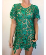 Thick Lace Crochet Blouse tunic Top green gatsby inspired floral LARGE - $29.00