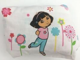 Dora the Explorer Twin Bed Flat Sheet Girls Kids Nickelodeon Floral White Pink - $11.82