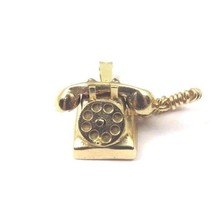 14k Yellow Gold Vintage 3D Rotating Telephone Charm Pendant With Cord - $243.10