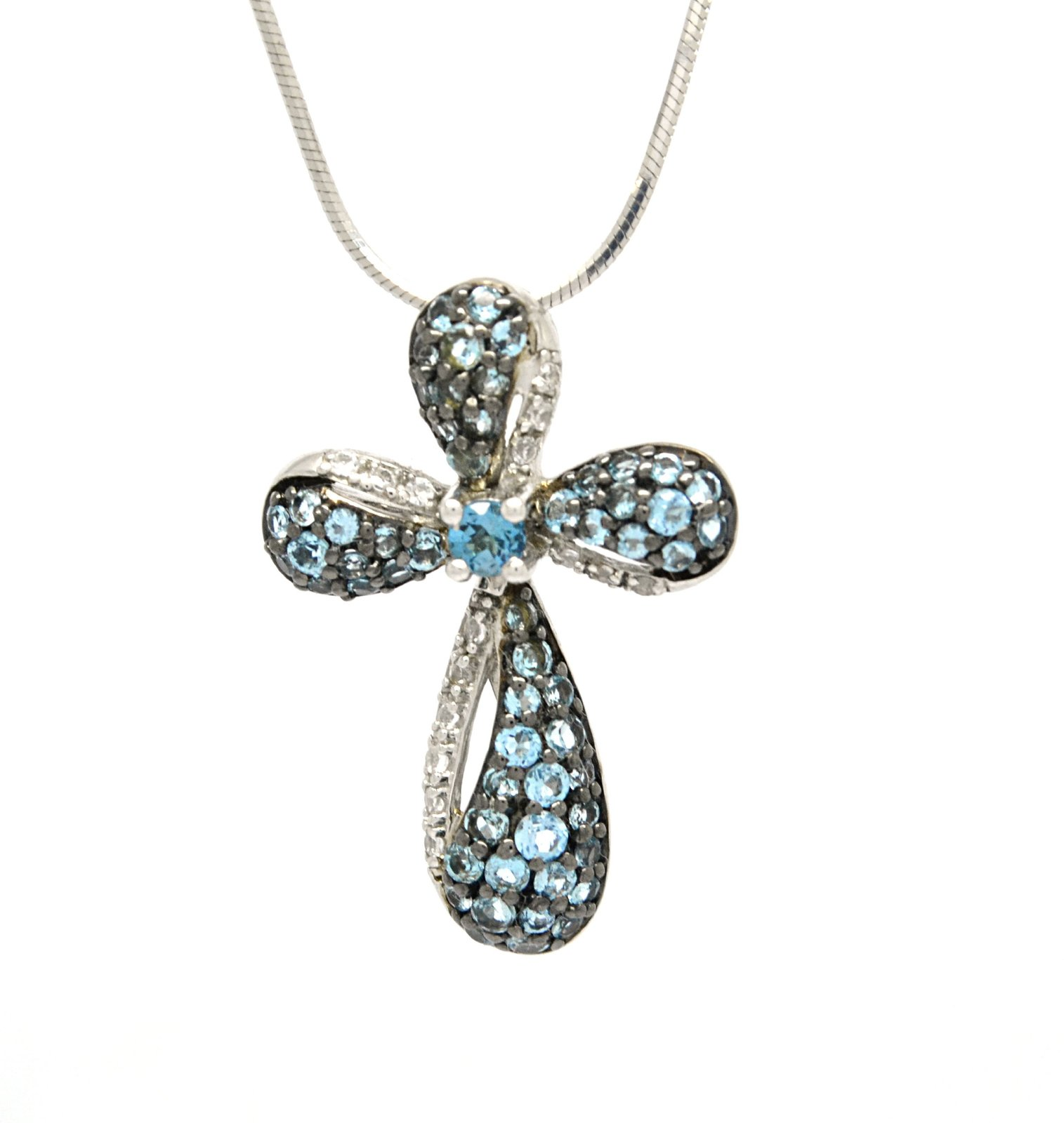 925 Sterling Silver Genuine Blue Topaz Cross Pendant With Silver Box Chain