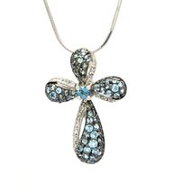925 Sterling Silver Genuine Blue Topaz Cross Pendant With Silver Box Chain image 1