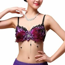 Women Belly Dance Clothes Nightclub Bras Plume Top Push Up Sequins Feath... - $44.99