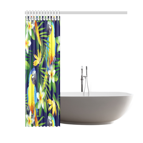 "Macaws And Tropical Flowers Shower Curtain 60""x72"""