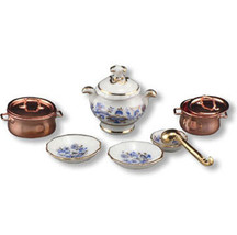 Miniature Corner Dollhouse Miniatures Gold Blue Onion Soup Set #MC14598 - $34.50
