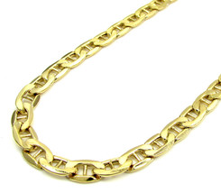 """Mens 10K Yellow Gold 4mm Flat Mariner Link Style Chain Necklace 18""""-24"""" ... - $287.28+"""