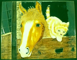 Benaya Hand Crafted Art Ceramic Tile Wall Plaque Horse and Playful Kitten - $29.99
