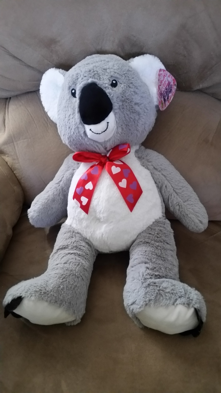 NEW HAPPY VALENTINES DAY WHITE GREY RACCOON RED HEARTS PLUSH SUGAR LOAF NWT TOY