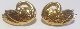 Vintage 1989 Avon ' Graceful ' Swan Pierced Earrings Gold Tone Figural B... - $9.41