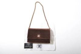 Auth CHANEL Brown Chain Shoulder Bag Matelasse Vintage Logo Pouch Flap B... - $644.49