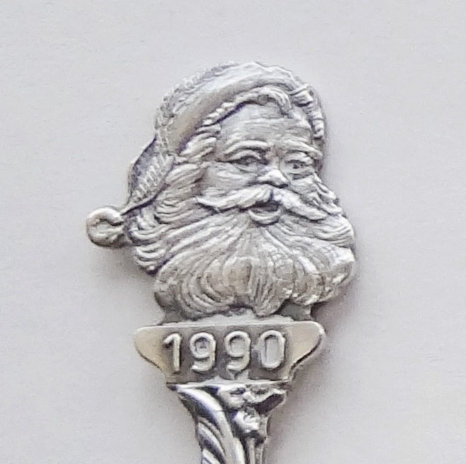 Primary image for Collector Souvenir Spoon Christmas 1990 Santa Claus Repousse Bowl Mary Jesus