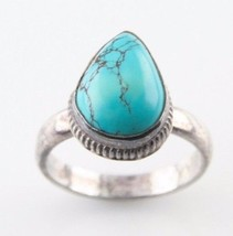 Vintage Sterling Silver Pear-Shaped Natural Turquoise Ring (Size 8-1/2) - $54.40