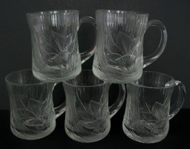 Vintage Arcoroc Canterbury Crocus embossed Glass Cups Mugs France Lily S... - $42.03