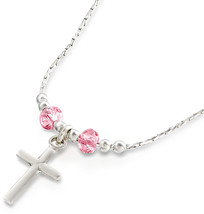 Choice of Cross Pendant Made with Light Rose Swarovski Crystals 925 Silv... - $86.45
