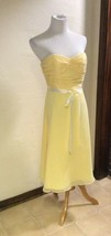 Davids Bridal Canary Yellow Bridesmaid Prom Dress Formal Strapless - £45.82 GBP
