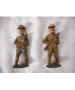Antique Vintage GREY IRON Cast Iron Toy Soldier US Doughboy 2 pieces setB - $8.86