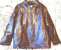 Haband Executive Division Fur lined Brown Patchwork Coat 100% Leather Sz... - $80.75