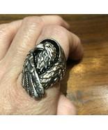 Vintage Men's Hawk Inlay Ring Size 10.75 Silver White Bronze - $39.60