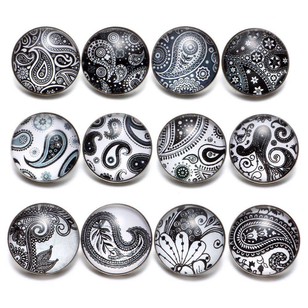 Primary image for 12pcs/lot Black&White Theme Paisley Element Pattern 18mm Snap Button Charms For
