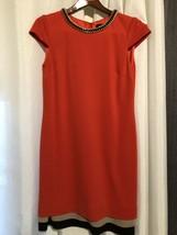 Nordstrom TAHARI Arthur Levine Chain Embelished Red Dress 6 - $18.69
