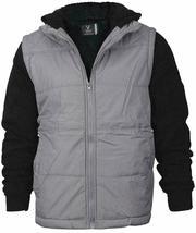 Vertical Sport Men's Sherpa Fleece Lined Two Tone Zip Up Hoodie Jacket image 7