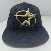 Vintage Houston Astros New Era 59FIFTY Fitted Hat 6 5/8 USA Made Blue Gold VTG - $43.53
